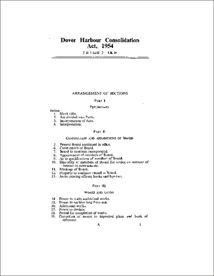 Dover Harbour Consolidation Act 1954