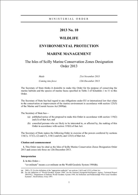 The Isles of Scilly Marine Conservation Zones Designation Order 2013