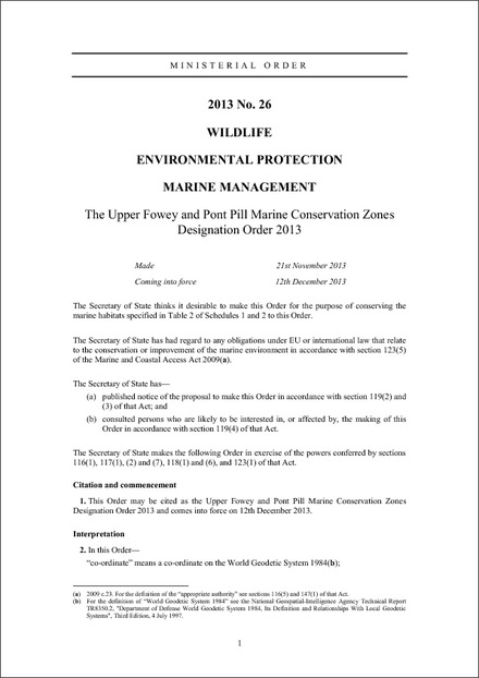 The Upper Fowey and Pont Pill Marine Conservation Zones Designation Order 2013