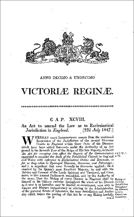 Ecclesiastical Jurisdiction Act 1847