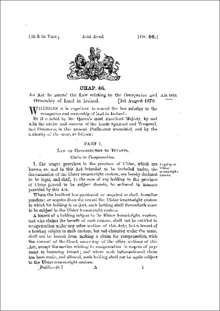 Landlord and Tenant (Ireland) Act 1870