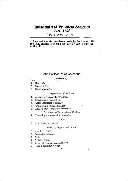 Industrial and Provident Societies Act 1893