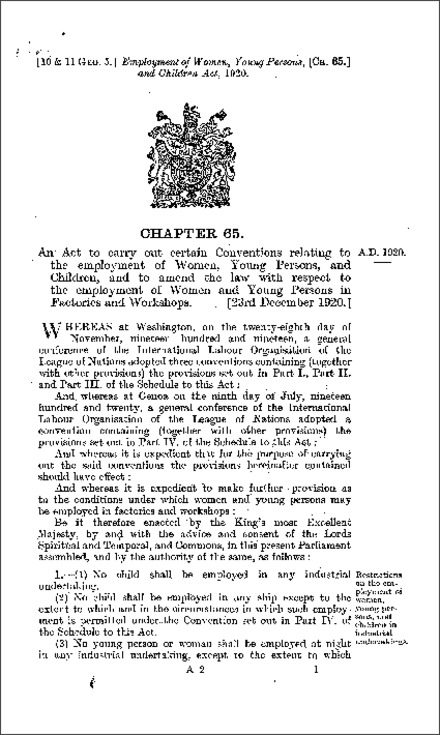 Employment of Women, Young Persons, and Children Act 1920