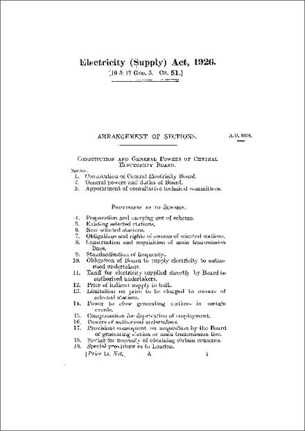 Electricity (Supply) Act 1926
