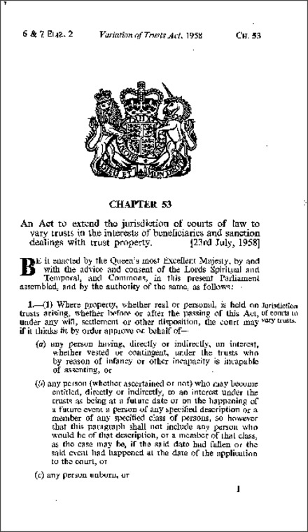Variation of Trusts Act 1958