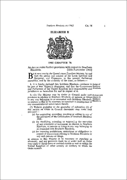 Southern Rhodesia Act 1965