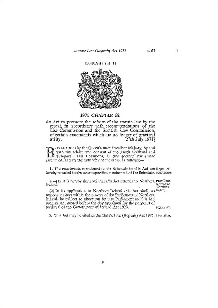 Statute Law (Repeals) Act 1971