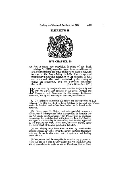 Banking and Financial Dealings Act 1971