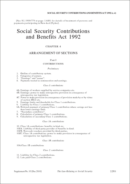 Social Security Contributions and Benefits Act 1992