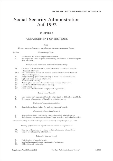 Social Security Administration Act 1992