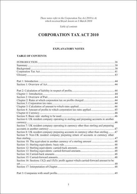 CORPORATION TAX ACT 2010