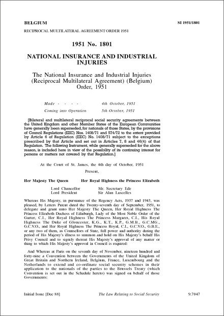 The National Insurance And Industrial Injuries Reciprocal