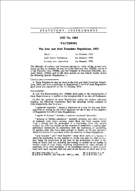 The Iron and Steel Foundries Regulations, 1953