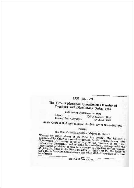 The Tithe Redemption Commission (Transfer of Functions and Dissolution) Order, 1959
