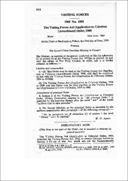 The Visiting Forces Act (Application to Colonies) (Amendment) Order,1960