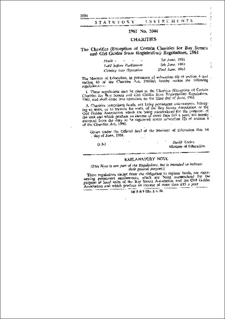 The Charities (Exception of Certain Charities for Boy Scouts and Girl Guides from Registration) Regulations, 1961