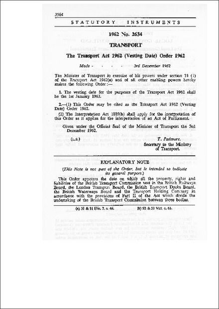 The Transport Act 1962 (Vesting Date) Order 1962