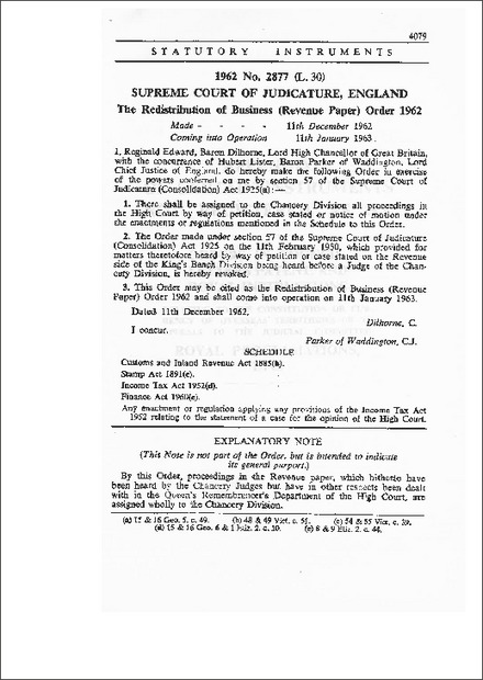 The Redistribution of Business (Revenue paper) Order 1962