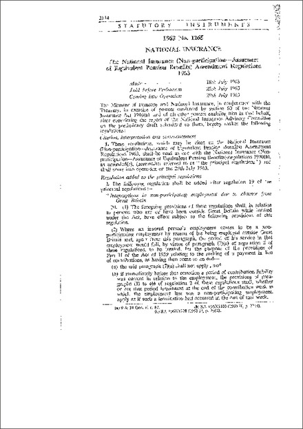 The National Insurance (Non-participation-Assurance of Equivalent Pension Benefits) Amendment Regulations, 1963