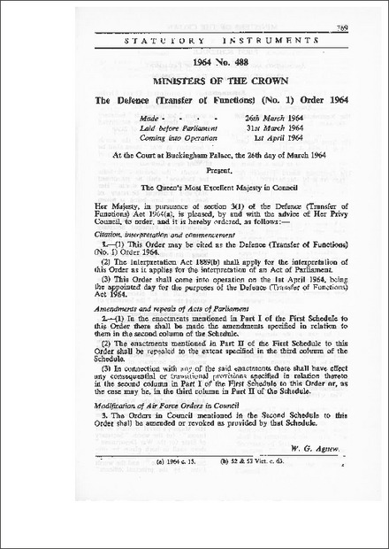The Defence (Transfer of Functions) (No.1) Order 1964