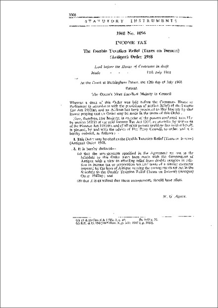 The Double Taxation Relief (Taxes on Income) (Antigua) Order 1968