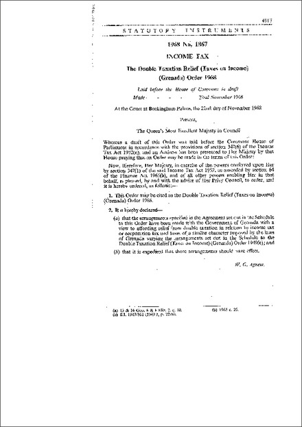 The Double Taxation Relief (Taxes on Income) (Grenada) Order, 1968