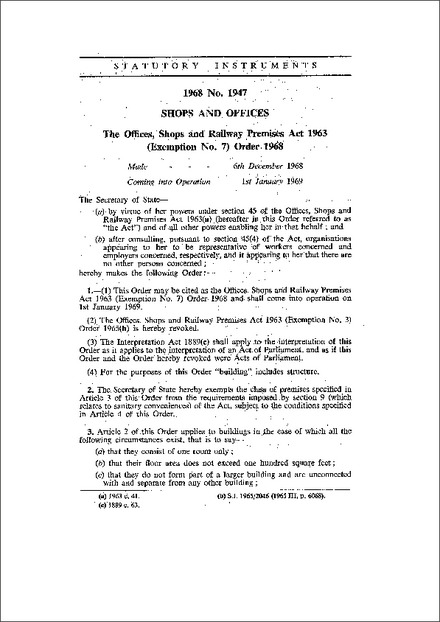 The Offices, Shops and Railway Premises Act 1963 (Exemption No. 7) Order 1968