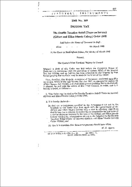 The Double Taxation Relief (Taxes on Income) (Gilbert and Ellice Islands Colony) Order 1968