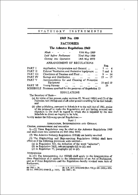 The Asbestos Regulations 1969