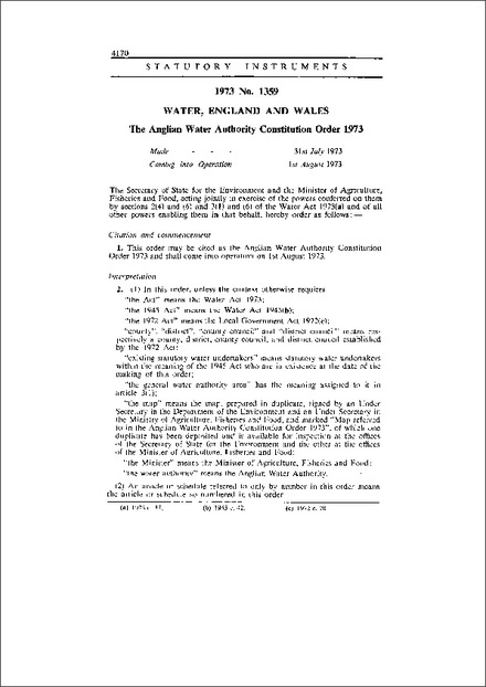 The Anglian Water Authority Constitution Order 1973