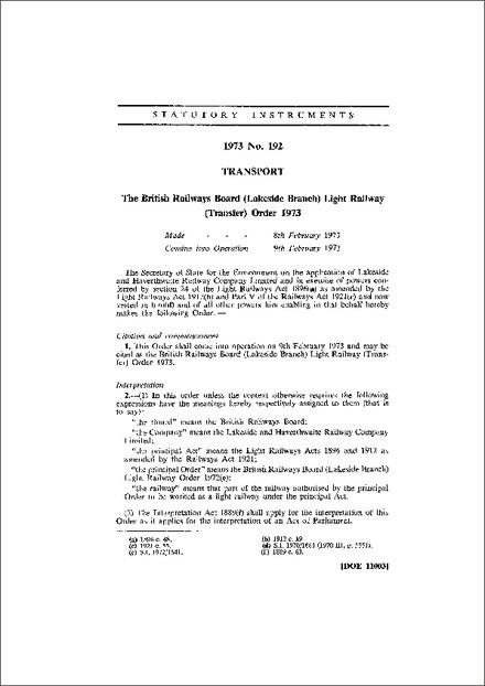 The British Railways Board (Lakeside Branch) Light Railway (Transfer