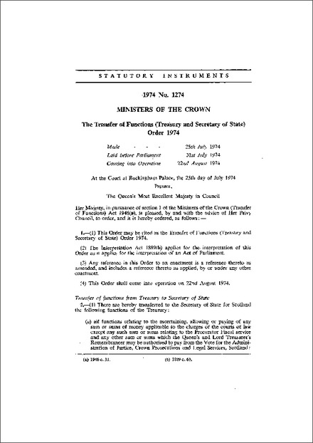 The Transfer of Functions (Treasury and Secretary of State) Order 1974