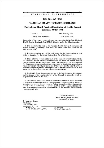 The National Health Service (Constitution of Health Boards) (Scotland) Order 1974