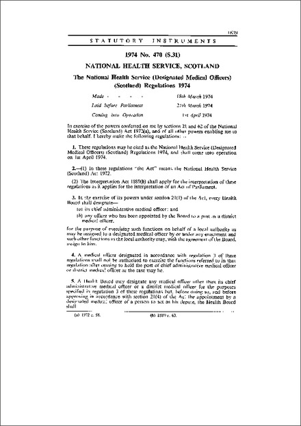 The National Health Service (Designated Medical Officers) (Scotland) Regulations 1974