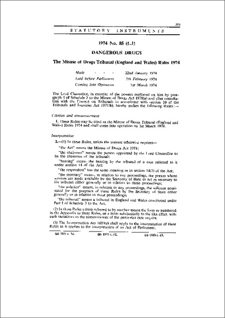 The Misuse of Drugs Tribunal (England and Wales) Rules 1974