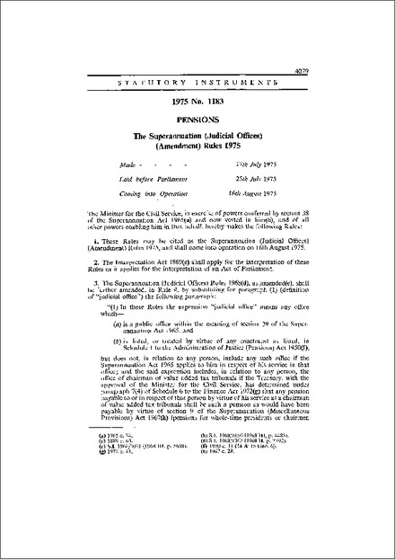The Superannuation (Judicial Offices) (Amendment) Rules 1975
