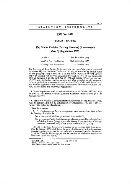 The Motor Vehicles (Driving Licences) (Amendment) (No  3