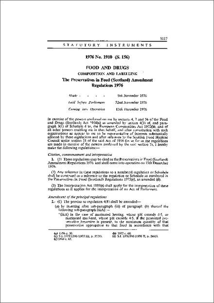 The Preservatives in Food (Scotland) Amendment Regulations 1976