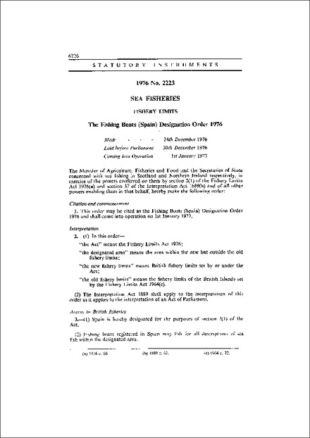 The Fishing Boats (Spain) Designation Order 1976