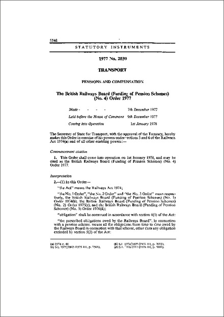 The British Railways Board (Funding of Pension Schemes) (No