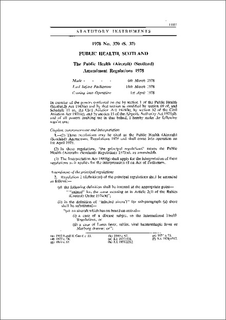 The Public Health (Aircraft) (Scotland) Amendment Regulations 1978