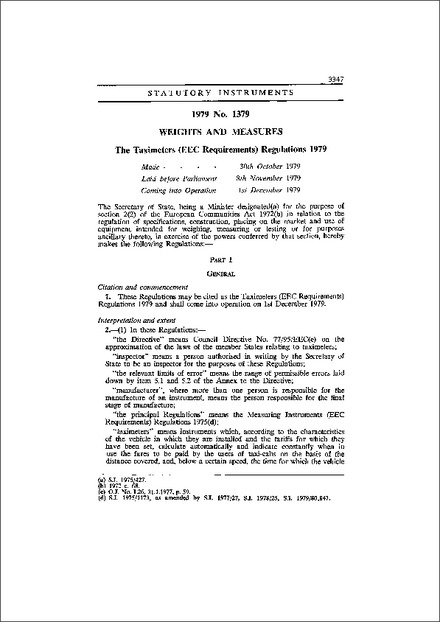 The Taximeters (EEC Requirements) Regulations 1979