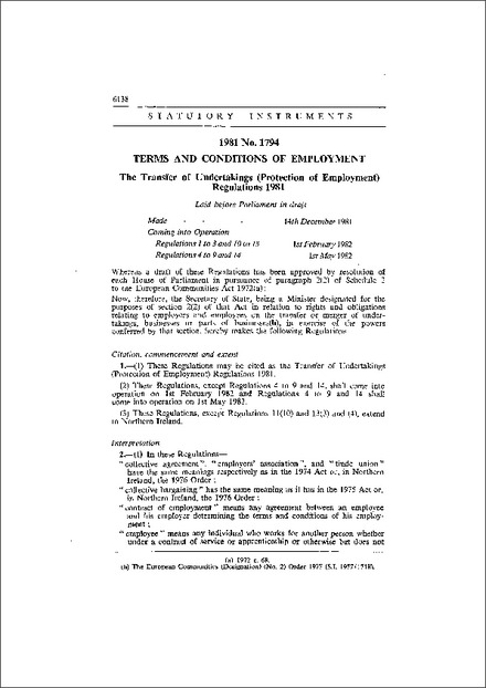 The Transfer of Undertakings (Protection of Employment) Regulations 1981
