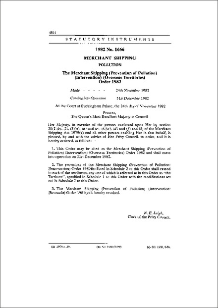 The Merchant Shipping (Prevention of Pollution) (Intervention) (Overseas Territories) Order 1982