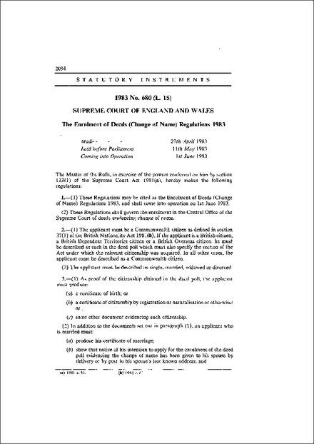 The Enrolment of Deeds (Change of Name) Regulations 1983