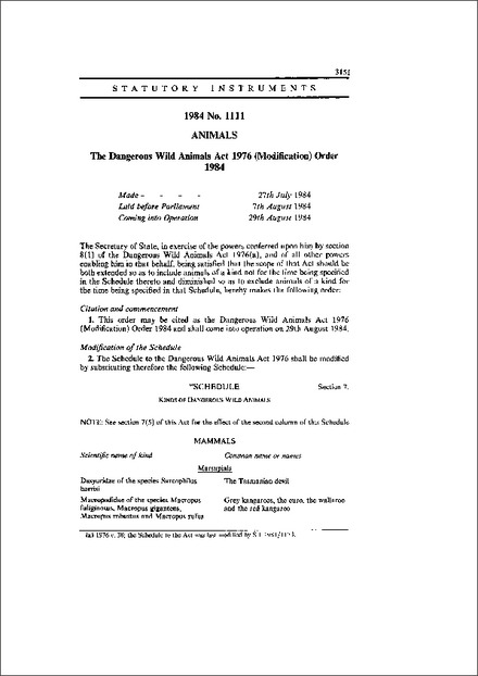 The Dangerous Wild Animals Act 1976 (Modification) Order 1984