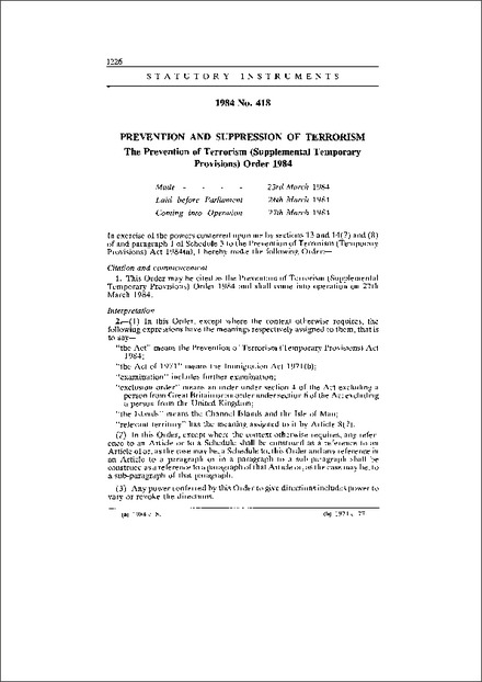 The Prevention of Terrorism (Supplemental Temporary Provisions) Order 1984