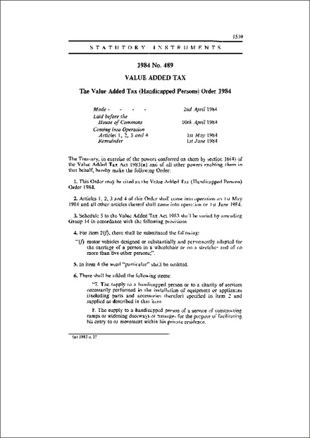 The Value Added Tax (Handicapped Persons) Order 1984