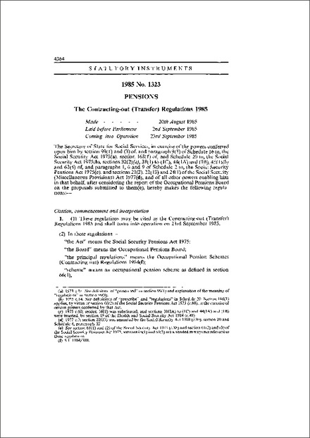 The Contracting-out (Transfer) Regulations 1985