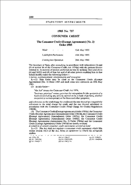 The Consumer Credit Exempt Agreements No 2 Order 1985